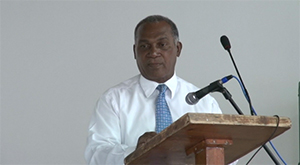 Premier of Nevis Hon. Vance Amory while delivering remarks at the opening ceremony of the St. Kitts and Nevis Fire and Rescue Services Summer Safety Programme on July 16, 2014, at the Cotton Ground Community Centre