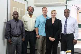 (L-R) Permanent Secretary in the Premier's Ministry Wakely Daniel, Director of the Nevis Disaster Management Department Lester Blackett, representatives from the US Southern Command based in Florida Sgt. Zachary Broz and Maj. Laura Miller and Premier of Nevis and Minister responsible for Disaster Management Hon. Vance Amory at his Bath Plain Office on July 11, 2014