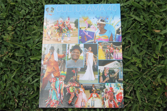 The cover of the Cadre Beat, a commemorative magazine produced by the Nevis Culturama Committee magazine for the 40th anniversary of Culturama