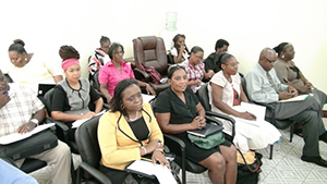 Head Teachers of Government-owned schools and Education Officers on Nevis, at a meeting with Premier of Nevis and Minister of Education Hon. Vance Amory at the Ministry of Finance conference room in Charlestown on July 24, 2014
