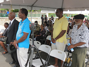 Some of the 90 persons who survived the M.V. Christena Disaster at the memorial service held on August 01, 2014 to mark the 44th anniversary of the tragedy