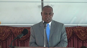 Premier of Nevis Hon. Vance Amory delivers remarks at the 50th anniversary church service of the First Baptist Church at Whitehall on September 14, 2014