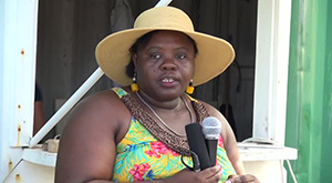 Junior Minister responsible for Sports on Nevis Hon. Hazel Brandy-Williams at the St. James Raceway on September 21, 2014