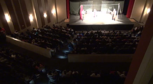 A section of the audience at the Globe to Globe's presentation of William Shakespeare's Hamlet on September 04, 2014 at the Michael Herald Sutton Auditorium at the Nevis Performing Arts Centre