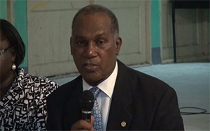 Premier of Nevis and Minister of Education Hon. Vance Amory at the town hall meeting at the Gingerland Secondary School auditorium on September 01, 2013