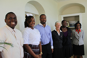 (L-R) Junior Minister of Tourism on Nevis Rol-J Williams, outgoing Caribbean Junior Minister of Tourism Neila Jones, Hon. Mark Brantley Deputy Premier of Nevis and Minister of Tourism, Deborah Lellouch Independent Contract Tourism Teacher, Philicia Walters Teacher and Chaperone and Vanessa Williams Tourism Education Officer in the Ministry of Tourism on Nevis