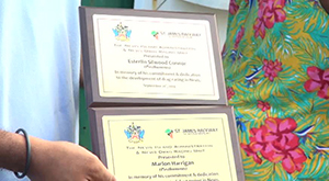 Plaques for two fallen Anguillan drag racing enthusiasts honoured by the Nevis Island Administration's Drag Racing Unit