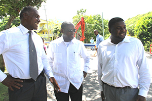 (L-R) Premier of Nevis Hon. Vance Amory, Prime Minister of St. Kitts and Nevis Rt. Hon. Dr. Denzil Douglas and Junior Minister in the Ministry of Communication and Works Hon. Troy Liburd touring ongoing work in the Caribbean Development Bank-funded Nevis Water Supply Enhancement Project on October 08, 2014