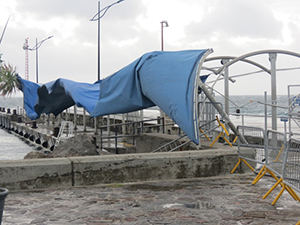 Awning at the Charlestown Pier ripped off during the passage of Tropical Storm Gonzalo on October 13, 2014