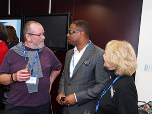 Deputy Premier of Nevis and Minister of Tourism Hon. Mark Brantley speak with patrons at The Telegraph's exclusive rum tasting event in London on October 03, 2014