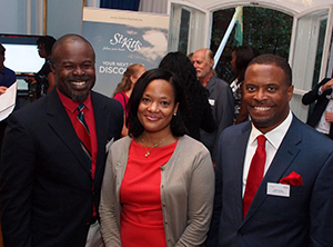 (L-R) Chief Executive Officer of the Nevis Tourism Authority Greg Phillip, Chief Executive Officer of the St. Kitts Tourism Authority Raquel Brown and Deputy Premier of Nevis and Minister of Tourism Hon. Mark Brantley at a cocktail for tourism partners held at the High Commission of St. Kitts and Nevis in London on September 29,