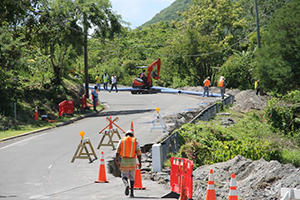 A section of the Island Main Road at Maddens with ongoing works on the Nevis Water Supply Enhancement Project