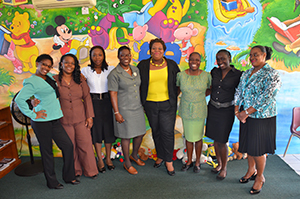 (L-R) - Eulana Batson–CPS; Sharon Liburd–EPPS; Sasha McDermott–VOJN; Marva Roberts–(formerly CSS); Londa Brown- School Library Coordinator; Julitta Parris – STTPS; Blondell Davis (Formerly JLPS); Bernadette Caines – CPS. Missing from Photo: Carian Dore-GSS; Corril Clarke- IWPS; June Kelly - STJPS