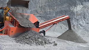 A shifting machine in operation at the government-owned New River quarry
