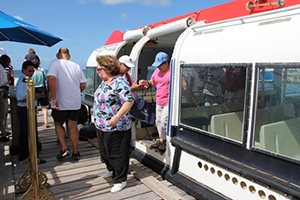 Cruise visitors disembark at the Charlestown pier (file photo)