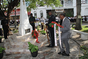 Premier of Nevis Hon. Vance Amory lays a wreath at the War Memorial on November 09, 2014