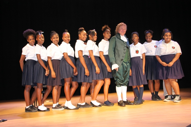 Third Form Students from the Charlestown Secondary School with world renowned Alexander impersonator Dr. William Bill Chrystal after his performance at the Nevis Performing Arts Centre on Monday, November 24, 2014