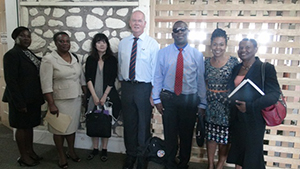 (L-R) Permanent Secretary in the Ministry of Education Lornette-Queeley Connor, Senior Assistant Secretary Eleanor Phillip, UNESCO Team Leader and Programme Specialist Megumi Watanabe, Education Consultant Philip Stabback, Secretary General of the National Commission for UNESCO in St. Kitts and Nevis Antonio Maynard, Education Planner in the Department of Education Nevis Dr. Neva Pemberton and Principal Education Officer on Nevis Palsy Wilkin at the Nevis Island Administration headquarters at Bath Plain on November 18, 2014