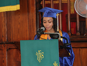 Brianna Brantley, Valedictorian of the Charlestown Secondary School Graduating Class of 2014 delivers her parting speech at the schools graduation ceremony at the Charlestown Methodist Church on November 12, 2014