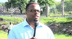 Deputy Premier of Nevis and Area representative for St. John's Parish Hon. Mark Brantley at the Brown Hill play field on November 18, 2014