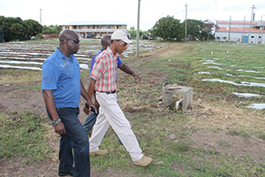 (L-R) Minister of Agriculture on Nevis Hon. Alexis Jeffers with Quarantine Officer Quincy Bart and Agricultural Supervisor Randy Elliott at the Prospect Agricultural Station