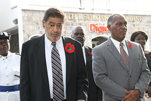 (L-R) Police Officer Sargent Ilena Phillip, Deputy Governor General His Honour Eustace John, President of the Nevis Island Assembly Hon. Farrell Smithen, Premier of Nevis Hon. Vance Amory and Mrs. Amory at the War Memorial on November 09, 2014
