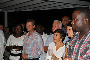 A section of guests at a cocktail party on November 20, 2014 at Villa 2001, to mark the official opening of Villas on Pinney's Beach