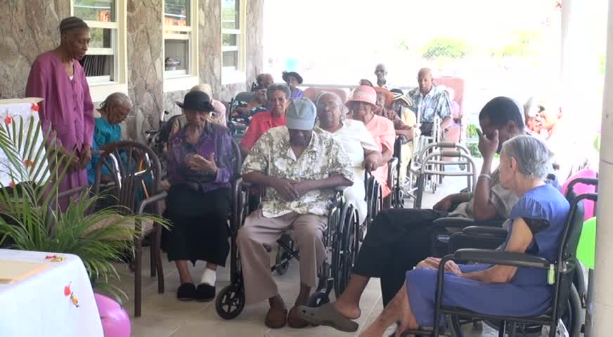 Some of the residents at the Flamboyant Nursing Home on Nevis during a recent celebration held in their honour by management and staff of the facility