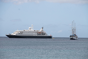 Two cruise ships anchored in the Charlestown Port on November 19, 2014, marking the official start of the 2014 Cruise Season on Nevis