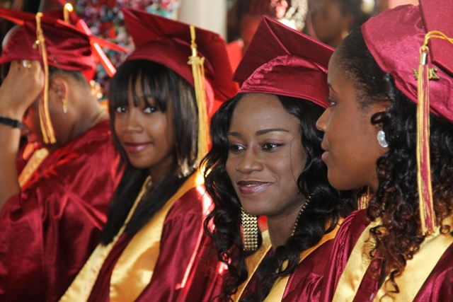 A section of graduands of the Nevis Sixth Form Graduating Class of 2014 at their graduating ceremony at the Charlestown Methodist Church on November 12, 2014