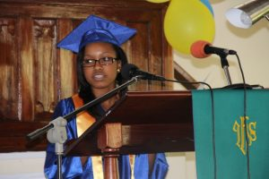 Valedictorian of the 2014 Graduating Class of the Gingerland Secondary School Cordiesere Walters delivers her farewell speech during the graduation ceremony at the Gingerland Methodist Church on November 27, 2014