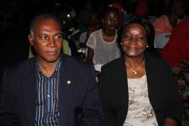Premier of Nevis, Hon. Vance Amory and Mrs. Amory at the Department of Community Development's annual Christmas Tree Lighting ceremony at the Memorial Square in Charlestown