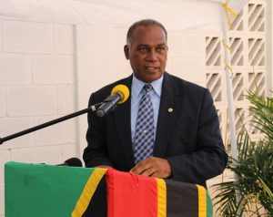 Premier of Nevis Hon. Vance Amory delivering remarks at the handing over ceremony of a new fire tender to the St. Kitts-Nevis Fire and Rescue Services Nevis Division on December 17, 2014