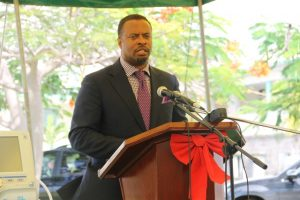 Deputy Premier of Nevis and Minister of Health Hon. Mark Brantley at a handing over ceremony by the St. Christopher and Nevis Social Security Board at the Alexandra Hospital on December 19, 2014
