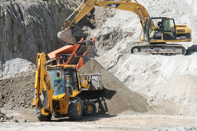 The heavy equipment before they were vandalised in operation at the government-owned New River Quarry