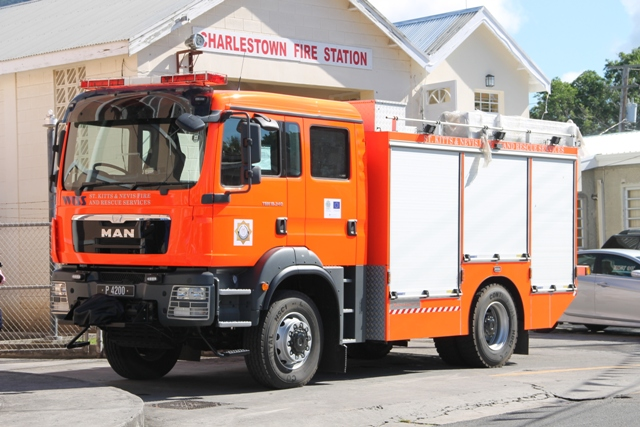 The new fire tender funded by the 10th European Development Fund project and the Government of St. Kitts and Nevis at the Charlestown Fire Station on December 17, 2014