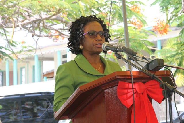 Director of St. Christopher and Nevis Social Security Mrs. Sephlin Lawrence at a handing over ceremony at the Alexandra Hospital on Nevis, December 19, 2014