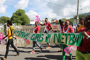 Young Netballers taking part in the part in the World Aids Day March in Charlestown on December 01, 2014