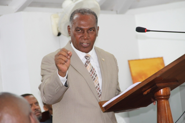 Premier of Nevis and Minister of Finance Nevis Island Administration Hon. Vance Amory delivering the 2015 Budget Address, at the Nevis Island Assembly sitting on December 16, 2014