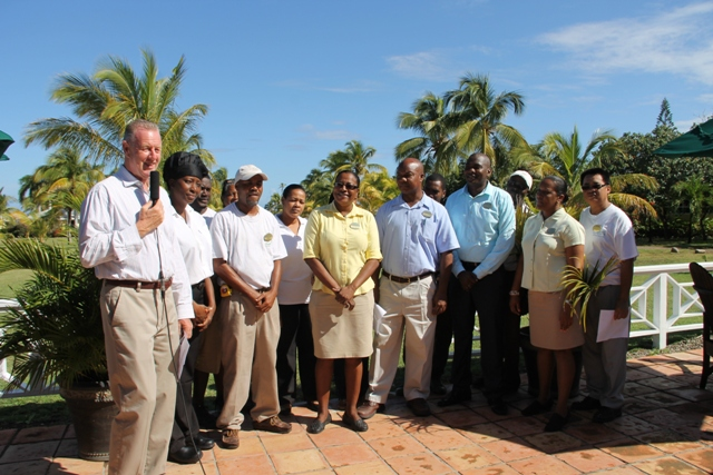 Manager of the Nisbet Plantation Beach Club Alistair Forrest and his staff