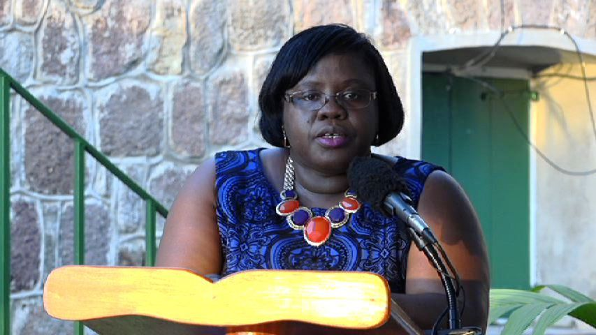 Junior Minister responsible for Community Development Hon. Hazel Brandy-Williams delivering the feature address at the Alexander Hamilton Scholarship Fund Tea Party 2015 fund raiser on the grounds of Hamilton House on January 09, 2015