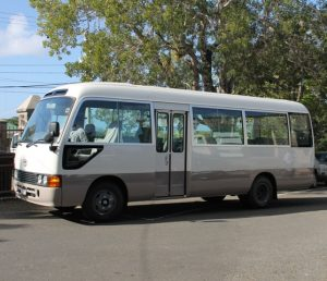 Brand new $202,500 Toyota Coaster Bus purchased by the Nevis Island Administration for the Department of Education's School Bus programme on Nevis