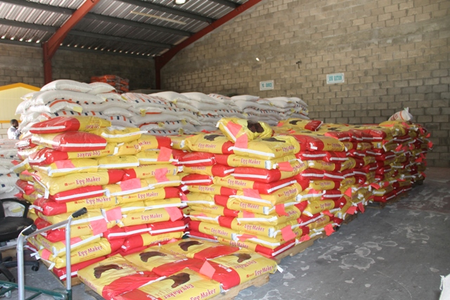 A section of the animal feed at the Supply Office at Pinneys