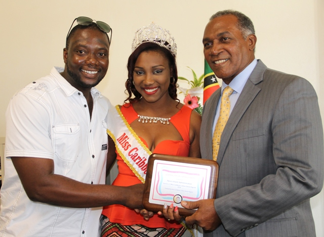 (l-r) Miss Caribbean Culture Queen Show promoter Randy Jeffers, reigning Miss Caribbean Culture Queen Yarani Morton and Premier of Nevis Hon. Vance Amory at Bath Hotel on January 15, 2015