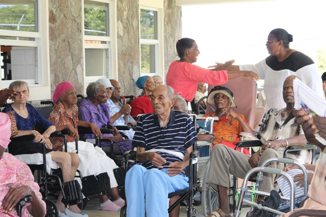 "A section of residents at the Flamboyant Nursing Home in attendance at the 103rd birthday celebration of Celian ""Martin"" Powell on January 19, 2015"