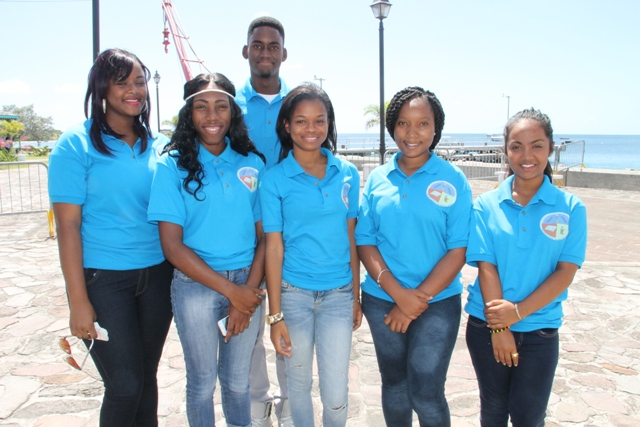 The Nevis 6th Form College's Literary and Debating Society Debaters (L-R) Neila Jones, Kelsia Liburd, Richard Matthew, Kerianne Pinney, Serena Browne and Chandine Joyalall off to St.Kitts for the Leeward Islands Debating Competition on Wednesday 25th February, 2015 at the Charlestown Pier.