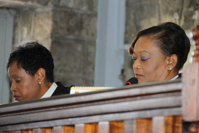 (L-R) Her Ladyship, the Honorable Justice Marlene Carter and her Ladyship, the Honorable Justice Lorraine Williams at a special sitting at the Nevis High Court