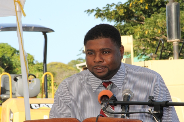 Junior Minister in the Ministry of Communication and Works Troy Liburd at the Opening and Renaming Ceremony of the Hamilton Road at Bocco Park on February 03, 2015