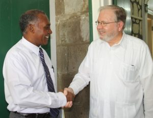 Premier of Nevis Hon. Vance Amory with Chief of the OAS Electoral Observer Mission His Excellency Frank Almaguer on February 13, 2015 at Bath Plain