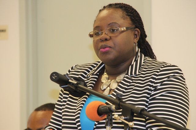 Junior Minister responsible for the Department of Youth and Sports Hon. Hazel Brandy-Williams delivers remarks at the department's website launch on February 09, 2015 at the Emergency Operations Centre at Long Point